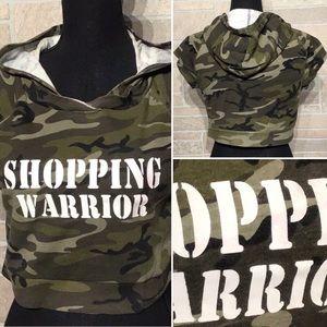 Tops - Boutique - Sz M - crop - camo - hoodie - 90's